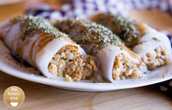 Canelones konjac con puré de coliflor – 350kcal