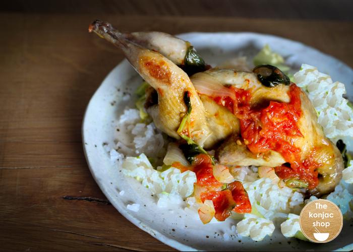 Codorniz con frutos secos y arroz konjac