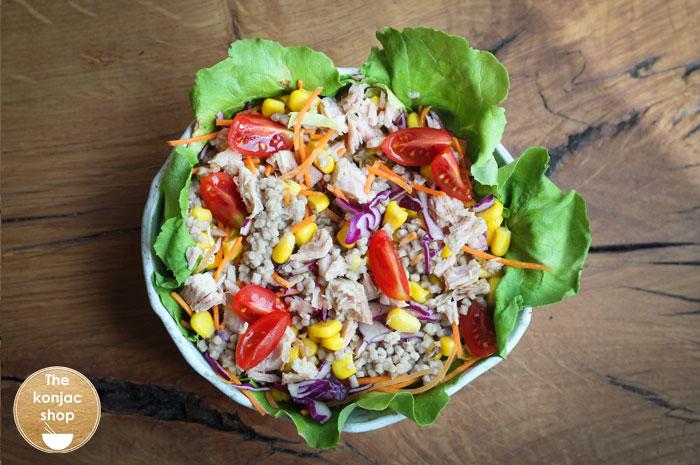 Ensalada de verano con cuscús de konjac – 260kcal